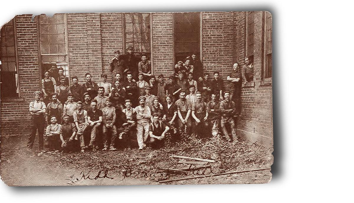Historic photo of Precision Kidd workforce circa 1800s